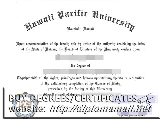 buy fake Hawaii Pacific University(HPU) diploma certificate