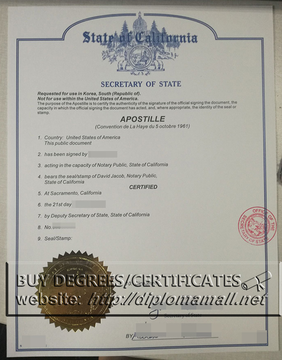 Buy Apostille California certificate, buy fake Apostille cert