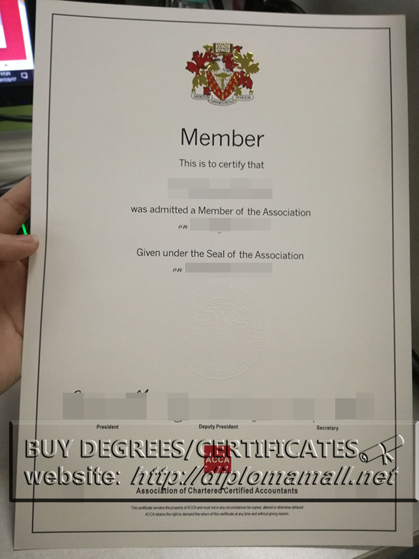 buy ACCA certificate(Embossed White Seal), Fake ACCA cert