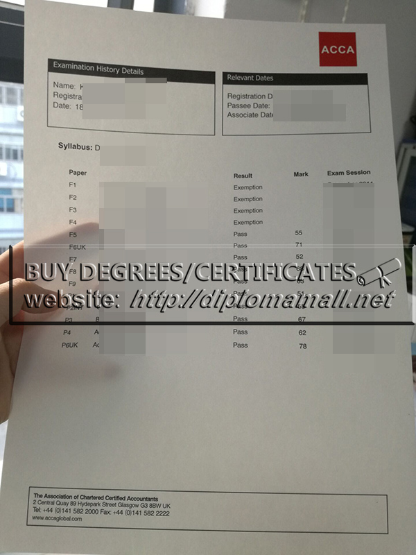 Buy fake ACCA examination report, ACCA certificate for sale