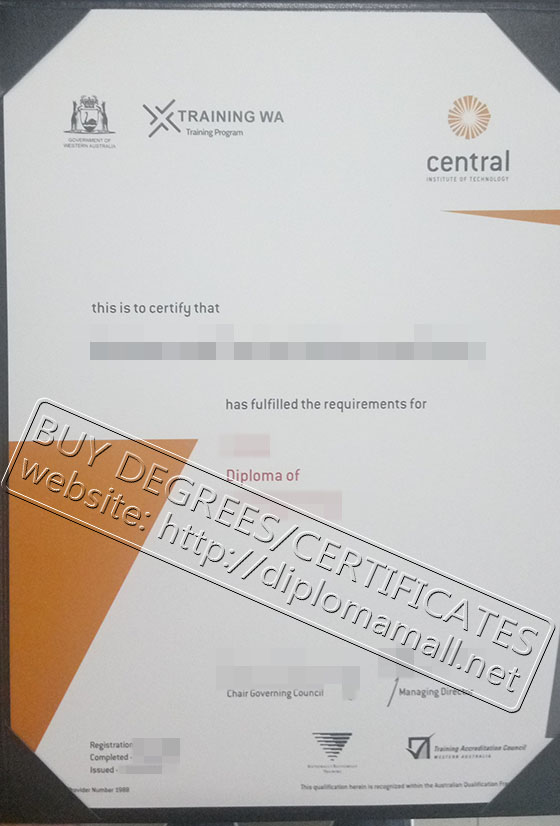 Central Institute of Technology certificate